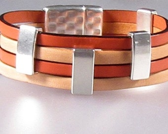 Shades of Tangerine  Leather Cuff