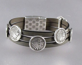 """15mm """"Indian Head"""" Leather Cuff"""