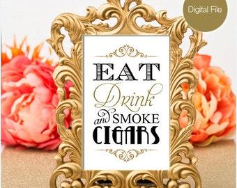 Cigar bar sign, Gold & Black, Wedding Printable (INSTANT DOWNLOAD)
