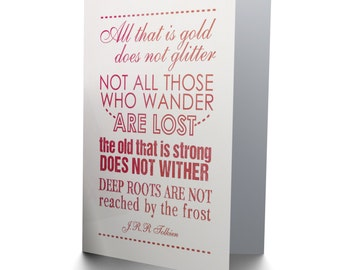 Tolkien Quote Card - Lord Of The Rings Not All Who Wander Birthday Blank Card CP084
