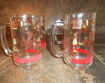 Retro Barbecue/Garden Party Beer Mugs, Set of 4