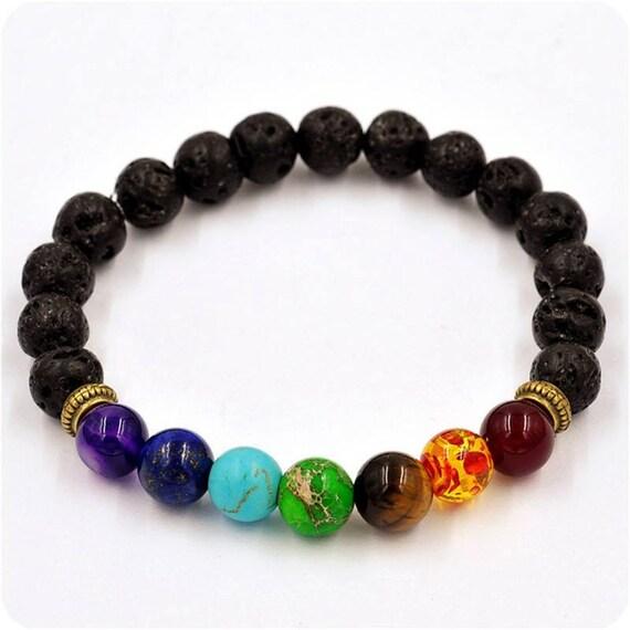 7 chakra healing bracelet with volcanic lava mala bracelet