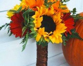 Sunflower daisy fall wedding bouquet