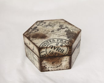 Decoupaged Postal Stamp Box