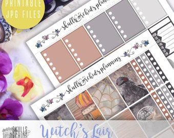 Witch's Lair Full Weekly Kit - Printable Stickers for HAPPY PLANNER