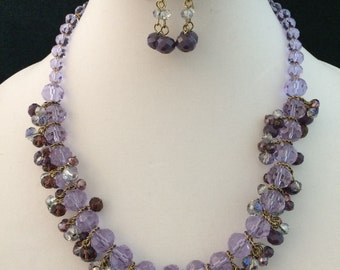 Purple Crystals Cluster Necklace Set