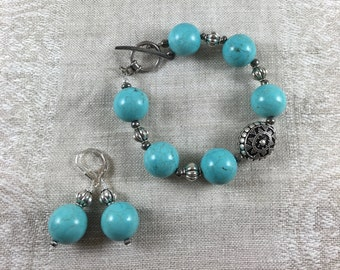 Howlite and sterling silver bracelet and earrings