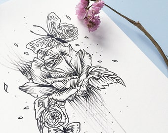 Spring Rose; Floral Illustration; Art Print