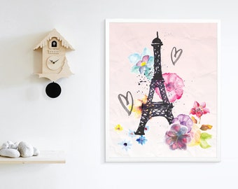 Printable Hand Painted Eiffel Tower, Printable Love , Printable Art, Paris, Wall Decoration, Wall Art, Wall Decor Print