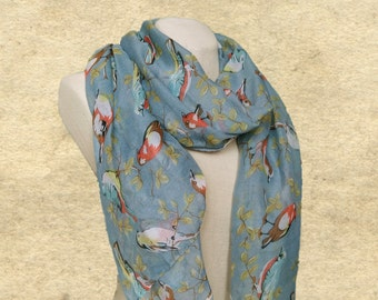 Birds print scarves, Light weight scarf, Womens scarf wrap, Women's shawl scarf, Lightweight scarf, Blue cotton scarf, Scarf for women