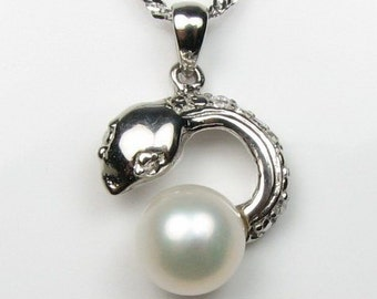 Pearl charm, freshwater pearl pendant, snake charm, 925 sterling silver real pearl necklace wholesale, pendant bail setting, 8-9mm, F1790-WP
