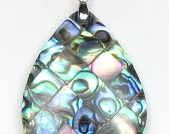 Abalone shell pendant, teardrop sea shell pendant, mosaic abalone pendant, paua shell leather cord necklace, ABA2210-P