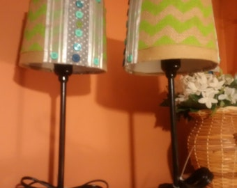 2 Teal and green lampshade and black metal lamp bases