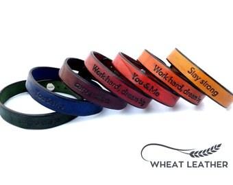 PERSONALIZED LEATHER BRACELET // Personalised Leather Bracelet // Leather Cuff // Own words // Customised bracelet // Customized bracelet