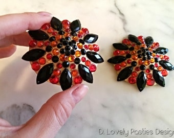 Black and Red Burlesque pasties, nipple tassels,  nipple covers