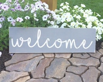 Welcome Sign, Welcome Sign for Front Door, Welcome Wooden Sign, Wooden Welcome Sign
