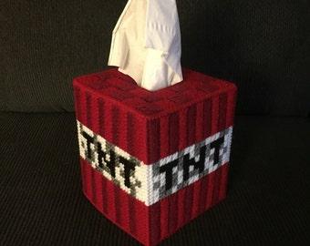 Handmade Plastic Canvas Tissue Box Cover - Minecraft - TNT