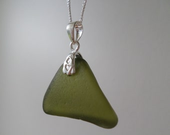 Sage Green Sea Glass Necklace