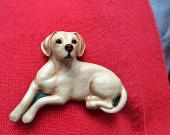 Labrador Brooch/Pin ~ Hand painted ~ 3 Dimensional Design ~ available in white, brown and black