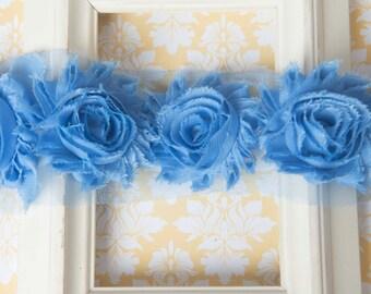 Blue shabby flower trim by the yard, blue shabby rose trim, wholesale flower trim, shabby trim, chiffon trim, flowers by the yard
