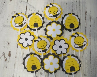 Bee Cupcake Toppers, FREE US SHIPPING, Set of 12, Bee Baby Shower, Bee Party, Bee Birthday Party