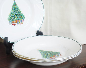 Vintage Noel Porcelle, The House of Salem, Christmas Tree Pattern, Rim Soup Bowl, Holiday China, Christmas Dinnerware, Made in France