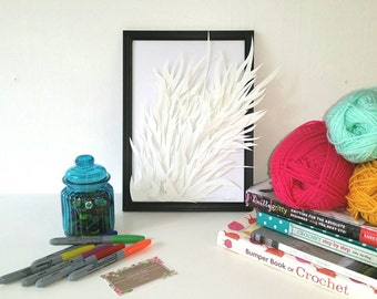 Framed Hand cut paper Art