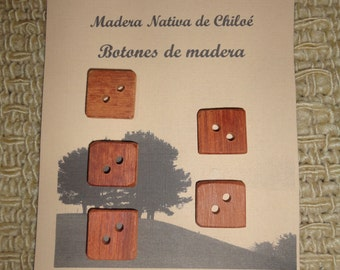 Square buttons on Native Wood Larch Made in Chiloe - Chile