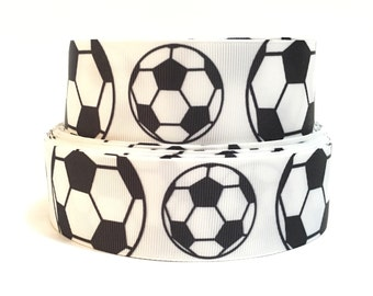 """1.5"""" Soccerball Grosgrain Ribbon, Soccer ball Ribbon, soccerball Ribbon"""