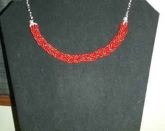 Red braided bead necklace