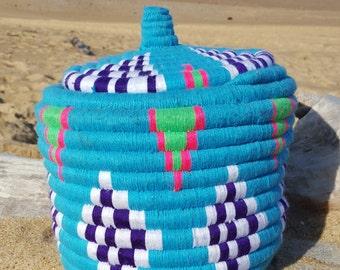 Blue Handmade basket, moroccan.
