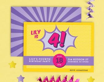 Girls Super Hero Invitation, Super Girl Birthday Invitation, Comic Book Invitation Girl, Girl superhero invitations, PINK Superhero Invite