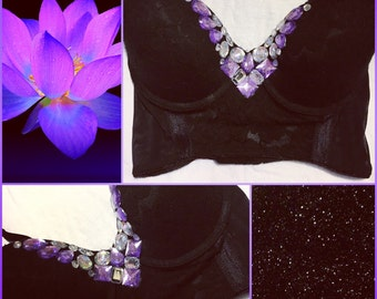 Black & Purple Galaxy Crystal Themed Rave Bra Bustier Bandeau