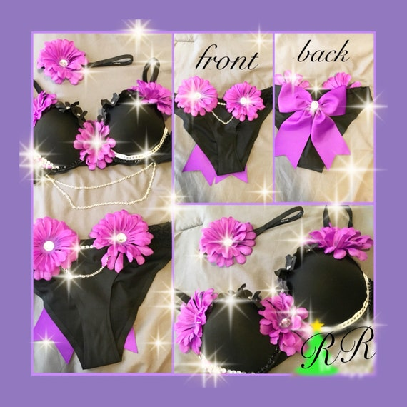 Black and Purple EDC Flower Child Daisy Rave Bra Outfit With Matching Bottoms/ Rave Shorts And Headpiece
