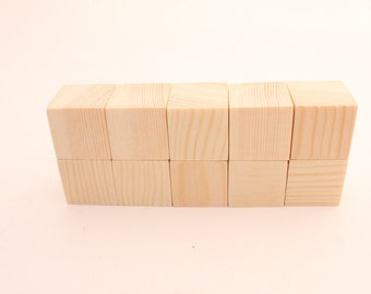 Set of 10 pine wooden blocks | 1 1/2 inch | 3,9cm | Unfinished wood blocks | Natural blocks | Square blocks | DIY | Crafting | Wooden cubes