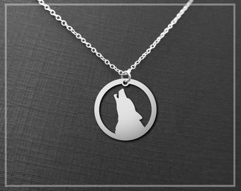 Wolf Head Necklace, Wolf Pendant, Howling Wolf Necklace, Silver Wolf Necklace, Silver Wolf Jewelry