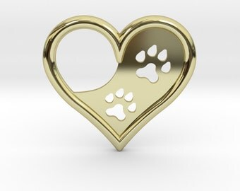 Gold Paw Print Heart | 3D Printed Jewelry Charms & Pendants