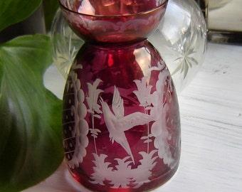 ANTIQUE - Rubiniertes vase - Eger man - kind - mini vase -.