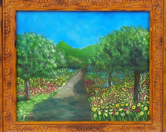 Original Framed Oil Painting on wood 10x12,Landscape Painting
