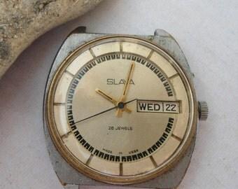 Vintage men's watch Slava, Russian watch, made in USSR, mechanical