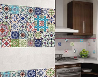 Amazing Vinyl Stickers Colorful Moroccan Portuguese Tile / Set 6x64 Pcs / Tile  Decals / Tiles For