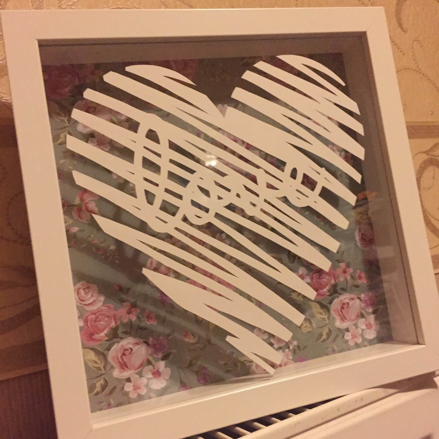 Newlywed Home Decor: Framed Scribble Love Quote Heart Hand Cut Paper Cut