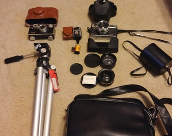 Vintage Camera Lot! Cameras, Cases, Lens, Stand, And More!
