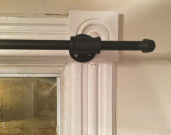 """Industrial Pipe Curtain Rod Short Length (18"""" - 36"""") Black Pipe"""