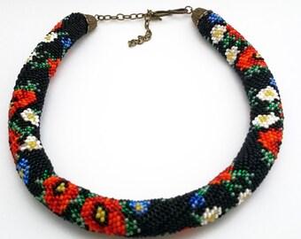 "Necklace crochet from szech beads ""Wildflowers"""