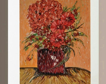 Original Oil Paintings - Anemones and Flower Ball in Red Vase