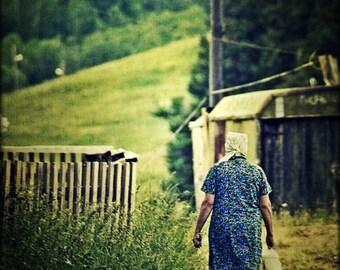 Vizhinga woman, Babushka,бабушка,Komi Republic,Pеспублика Коми,Russia Photography,Landscape, photography,Farm ,Wall Art, wall decor