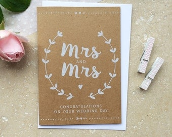 Rustic Mrs & Mrs Wedding Day Thank You Card
