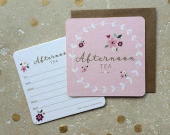 Floral Afternoon tea Coaster Invitations