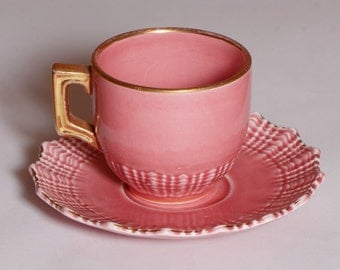 German scalloped demitasse cup and saucer, pink with gold trim